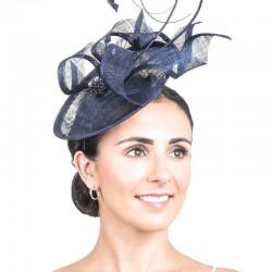 Bibi chapeau mariage bleu marine / Bibi cérémonie, accessoire coiffure mariage