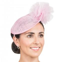 Bibi mariage et fleur rose/ Chapeau mariage ou cérémonie, accessoire de coiffure