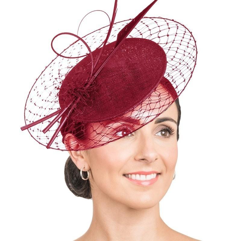 Chapeau mariage Rouge bordeaux