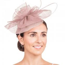 Bibi chapeau mariage beige rose / chapeau cérémonie, bibi mariage