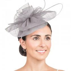 Bibi chapeau mariage gris / chapeau cérémonie, bibi mariage
