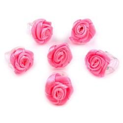 6 petites fleurs rose fuchsia sur pince crabe