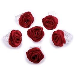 6 petites fleurs rouge bordeaux sur pince crabe