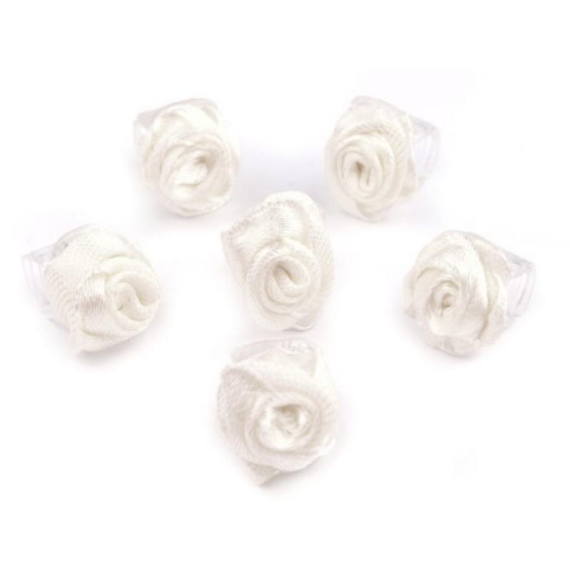 6 petites fleurs blanc sur pince crabe