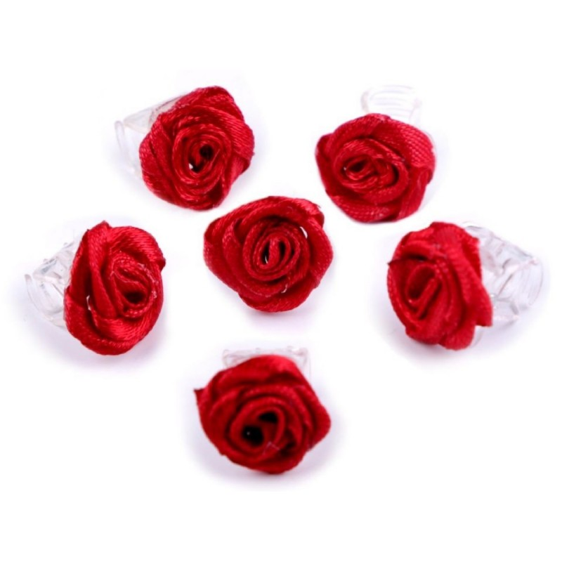 6 petites fleurs rouge sur pince crabe