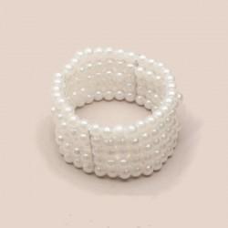 Bracelet 5 rangs perles ivoires