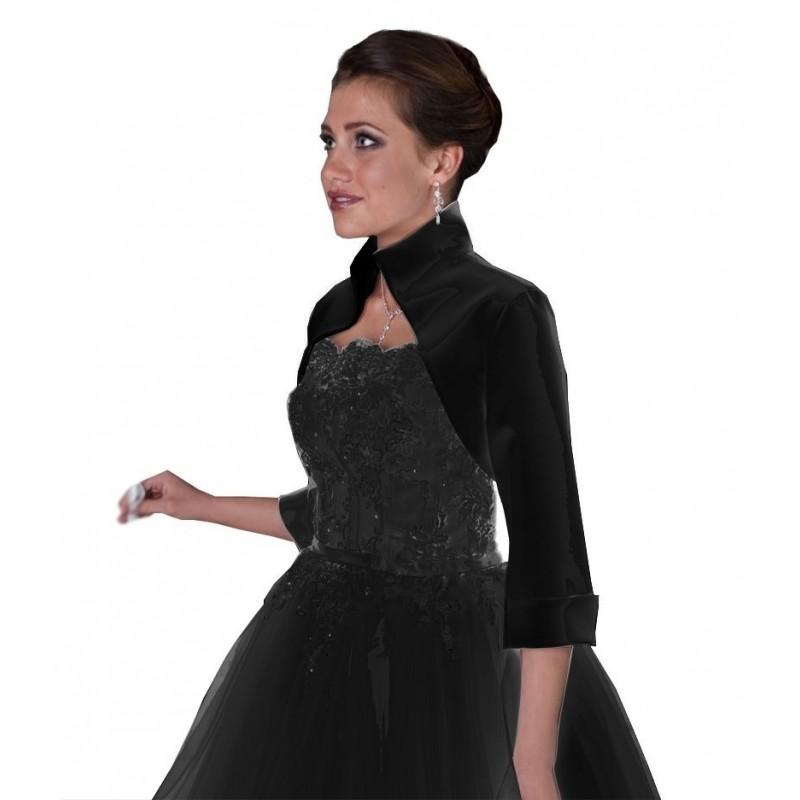 boléro en satin noir col montant et poignets mousquetaires, veste habillée noire élégante pour soirée