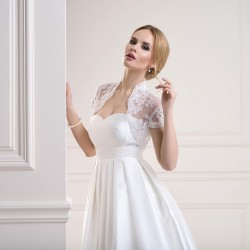 Veste mariée dentelle manches courtes, bolero mariage dentelle ivoire