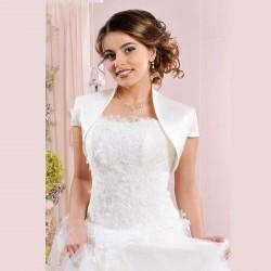 Veste mariage satin manches courtes, bolero de mariée en satin