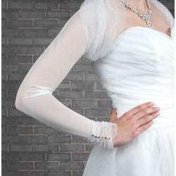 Boléro mariage voile manches longues, froncé au col et aux poignets, veste mariage habillée