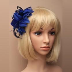 Chapeau mariage Broche ou accessoire cheveux bleu marine