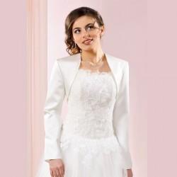 Veste de mariée satin manches longues, veste habillée en satin blanc ou ivoire, bolero mariage satin