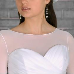 T-shirt voile transparent manches mi-longues, top de mariage voile blanc ou ivoire