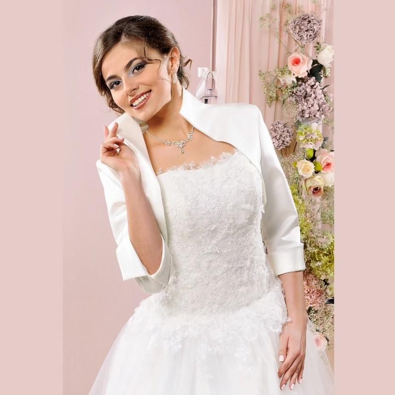 Bolero mariage satin col montant manches mi-longues, boléro de mariée satin, veste habillée