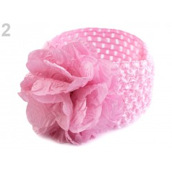 Lot 4 Bandeaux serre-tête élastique avec fleur / Blanc, rose, rouge, corail / accessoire cheveux pour enfants, bébés