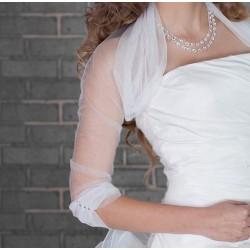 Boléro mariage voile manches mi-longues, froncé au col et aux poignets, veste mariage ha
