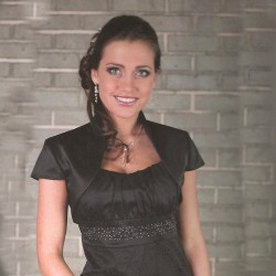 Veste courte satin noir manches courtes, bolero satin noir manches courtes, veste noire habillée