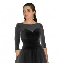 Top transparent noir manches mi-longues, T-shirt en voile extensible noir, t-shirt noir transparent élastique