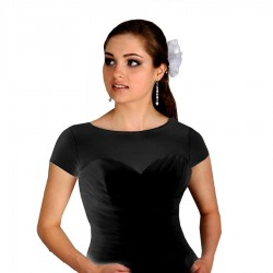 Top transparent noir, T-shirt en voile extensible noir, t-shirt noir transparent élastique