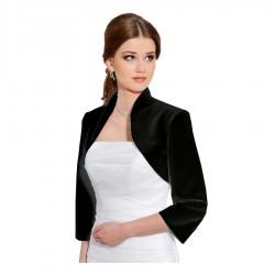 Veste habillée satin noir manches mi longues, bolero en satin noir, petite veste mariage noire