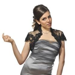 Veste habillée dentelle noire et perles manches courtes, boléro habillé en dentelle