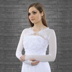 Bolero mariage tulle stretch dentelle appliquée, boléro de mariée transparent manches longues