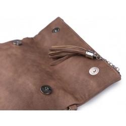 Pochette mariage cuir rose et pompon / Petit sac