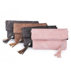 Pochette mariage cuir marron taupe et pompon / Petit sac