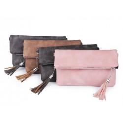 Pochette mariage cuir gris anthracite et pompon / Petit sac