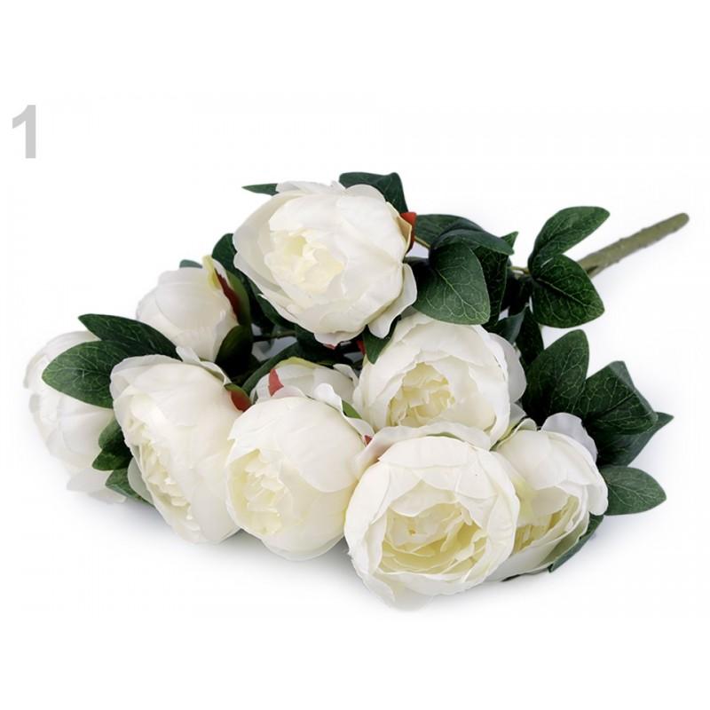 Bouquet de fleurs mariage Blanc crème / Fleurs en tissu, pivoines artificielles, décoration fleurs mariage