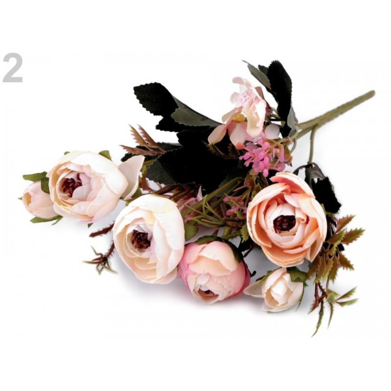 Bouquet de fleurs mariage rose saumon / Fleurs en tissu, renoncules artificielles, fleurs mariée