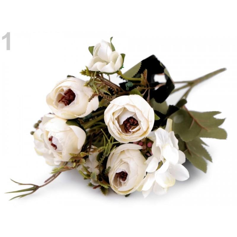Bouquet de fleurs mariage Blanc crème / Fleurs en tissu, renoncules artificielles, fleurs mariée