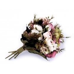 Bouquet de fleurs mariage rouge clair / Fleurs en tissu, renoncules artificielles, fleurs mariée