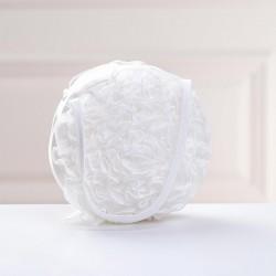 Sac de mariée forme tambourin organza et satin / blanc, ivoire