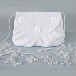 Sac de mariée avec fleurs organza et perles / Blanc, ivoire / Bourse de mariage, sac de mariage