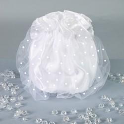 Sac bourse de mariée en satin et voile avec plumetis / Blanc, ivoire / Pochette mariage, sac cérémonie
