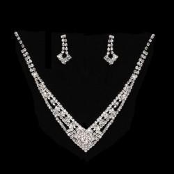 Parure de bijoux cristal / collier et boucles d'oreilles strass