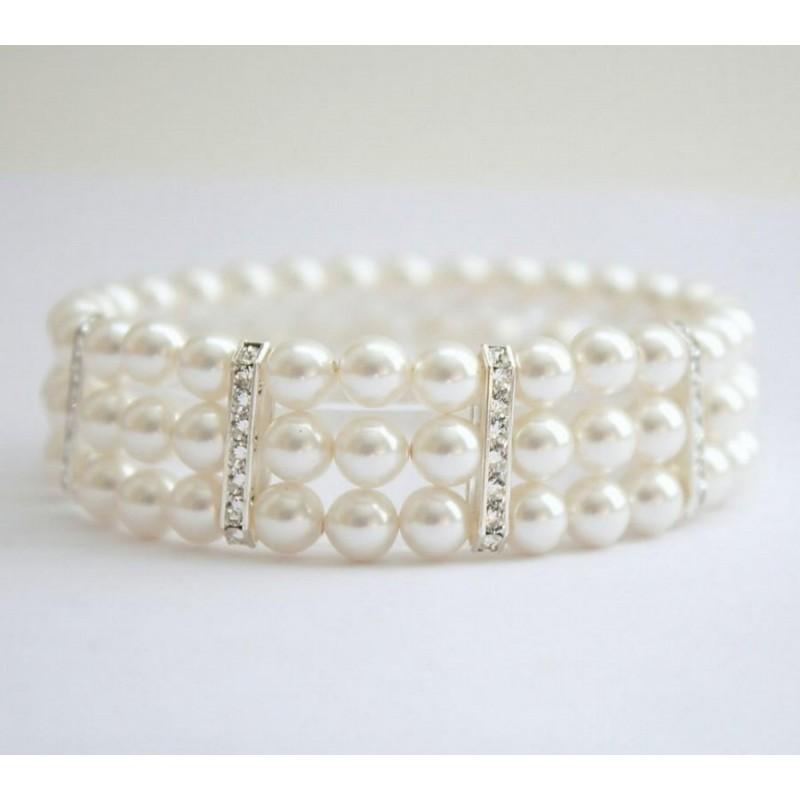 Bracelet 3 rangs perles blanches et 3 barrette strass