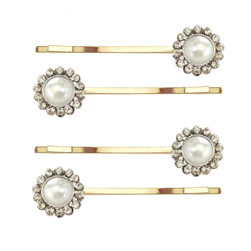 2 barrettes mariage perles cristal