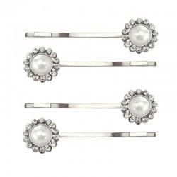 4 barrettes mariage perles cristal métal argent