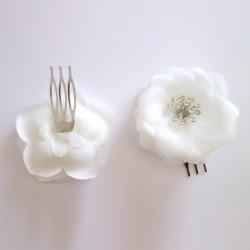 2 petits peignes en voile blanc 65mm / Accessoire de coiffure mariage, peigne cheveux mariée