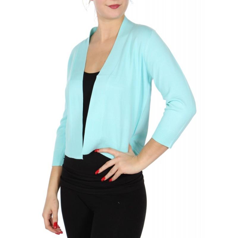 Boléro bleu turquoise en jersey extensible à manches mi-longues / Nombreux coloris / Petite veste courte en maille