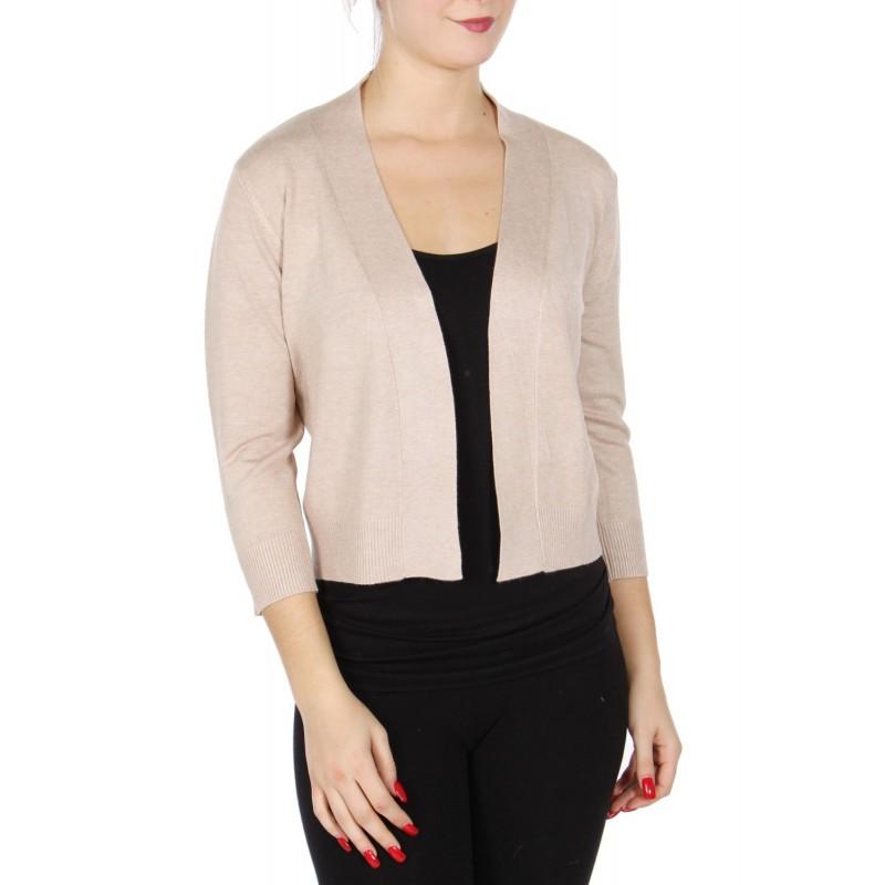 Boléro beige en jersey extensible à manches mi-longues / Nombreux coloris / Petite veste courte en maille