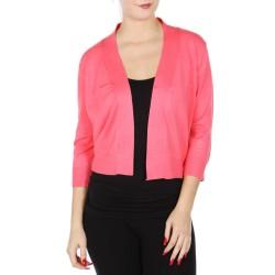 Boléro corail en jersey extensible à manches mi-longues / Nombreux coloris / Petite veste courte en maille