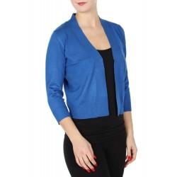 Boléro bleu royal en jersey extensible à manches mi-longues / Nombreux coloris / Petite veste courte en maille