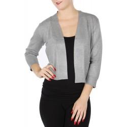 Boléro gris clair en jersey extensible à manches mi-longues / Nombreux coloris / Petite veste courte en maille