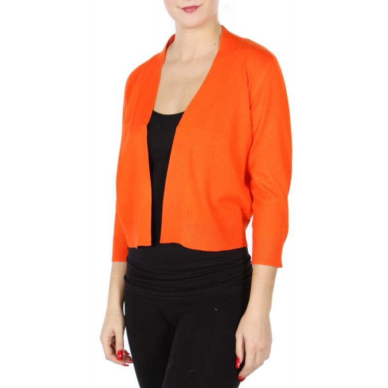 Boléro orange en jersey extensible à manches mi-longues / Nombreux coloris / Petite veste courte en maille