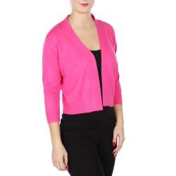 Boléro rose fuchsia en jersey extensible à manches mi-longues / Nombreux coloris / Petite veste courte en maille