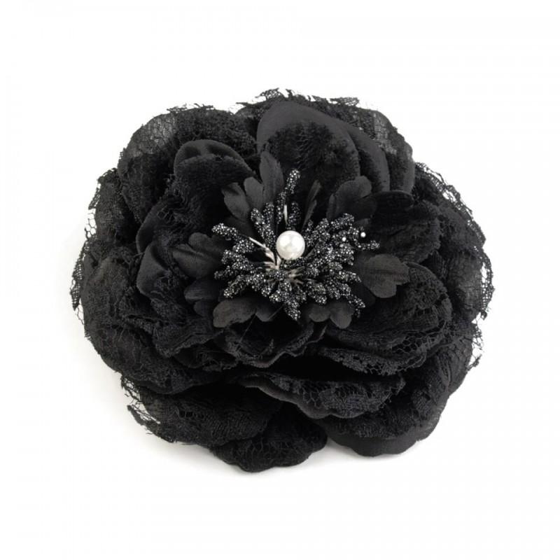 Fleur cheveux ou broche Noire 11 cm