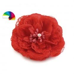 Fleur cheveux ou broche Rouge 11 cm